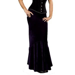 Jupe goth Fishtail Velours Violet