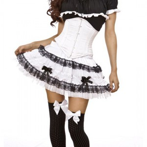 Jupe gothique lolita White satin