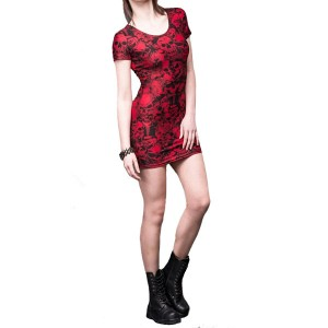 Skulls and roses red dress